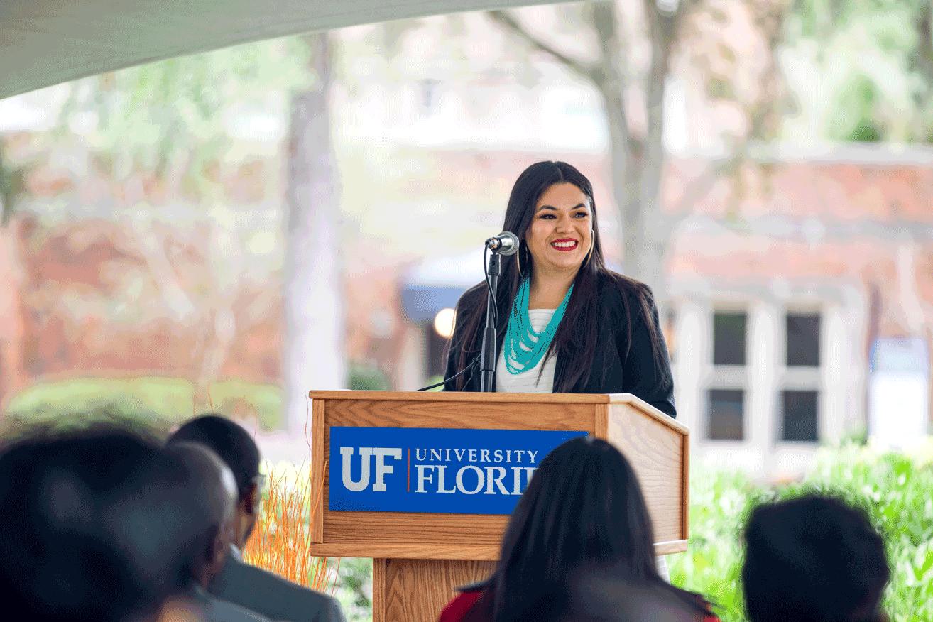Hispanic Latino Affairs Director Speak at the ceremony